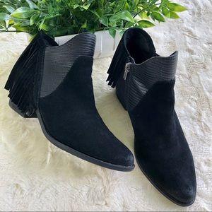 Reba black suade derbie fringe ankle boots 6.5